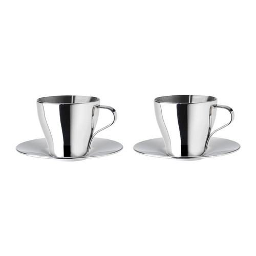 Stainless Steel Double Wall Thermal Espresso Coffee Cups + Saucers 2 p